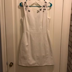 H&M white dress with beading near neckline US 8